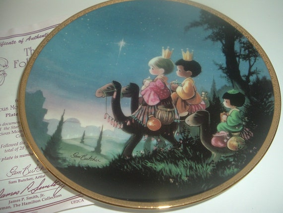 They Followed The Star Precious Moments Bible Story Plate Sam Butcher Hamilton Collection w COA