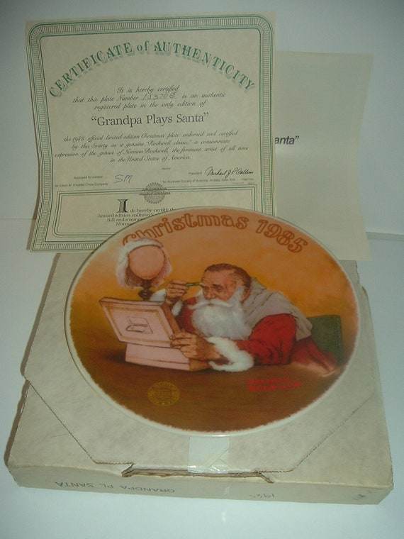 Norman Rockwell Grandpa Plays Santa Christmas 1985 Plate w/ Box & COA