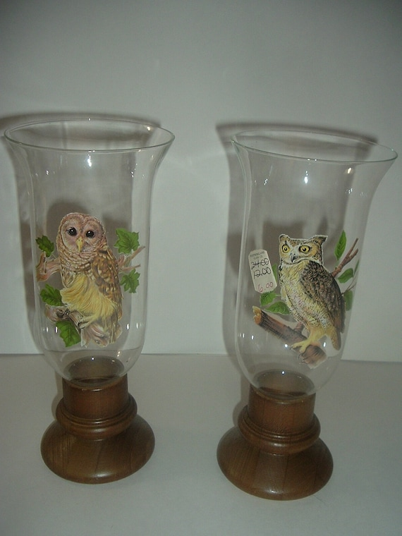 Two Westmoreland Glass Owl Decal Candle Lamps