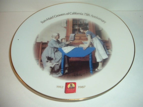 1987 Sun Maid Growers of California 75th Anniversary Norman Rockwell Plate