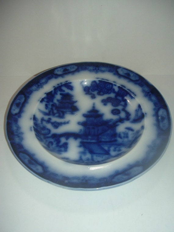 "Flow Blue Petrus Regout Hindostan Plate 10"" Antique"