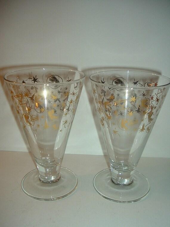 2 K in Circle Stars Rockets Food Drink Vintage Restaurant Drinking Glasses Vintage