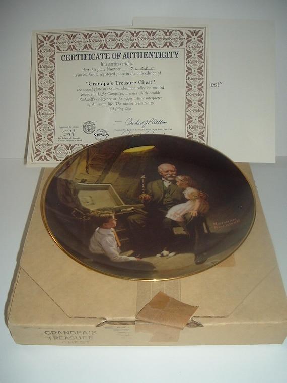 Norman Rockwell Grandpa's Treasure Chest Plate Light Campaign Series 1983 w/ Box & COA