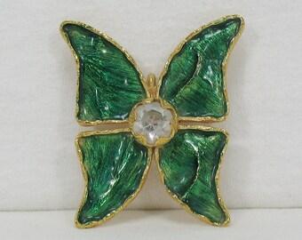 ca41d4d91fd Yves Saint Laurent YSL Enamel and Rhinestone Butterfly Brooch Pendant -  Large - Vintage 1980s