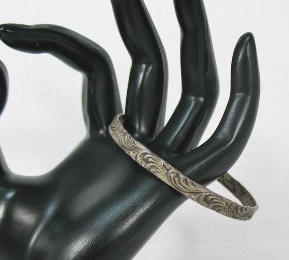 Art Deco Feather Swirl Motif Sterling Silver Brace