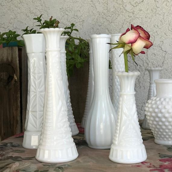 Vintage Milk White Vases Bud Vases Lot Of 12 Hobnail Star Etsy