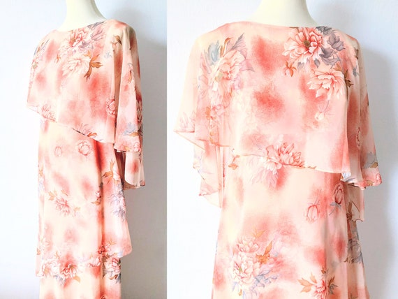 1970s Pink Maxi Nightgown with Pearl Beading and Flutter Sleeves