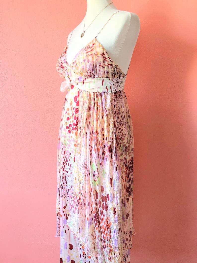 Vintage Y2K Silk Dress XS Peach Sundress Abstract Dress Designer Midi Tie Front Dress Airy Dress Flowy Dress Layered Dress Watercolor Dress