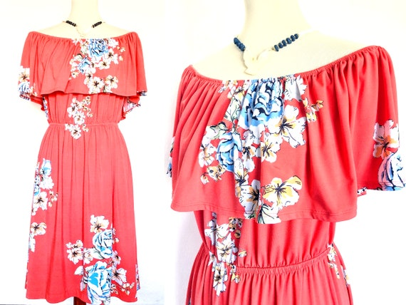Vintage Off The Shoulder Dress / Ruffle Dress / Pe