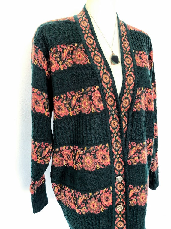 Vintage 90s Oversized Sweater 90s Cardigan Striped