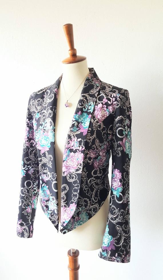 16e70a4eebe08 Vintage Floral Cocktail Jacket 90s BISOU BISOU Shiny Blazer | Etsy