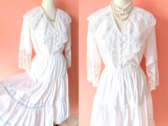 Vintage White Prairie Dress Boho Wedding Dress Ivo