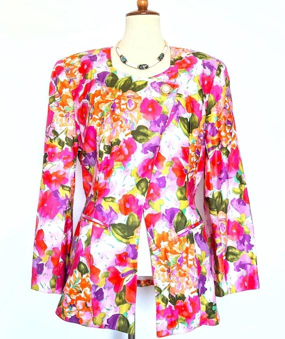 Vintage 80s Floral Blazer / MAGGY LONDON Blazer /