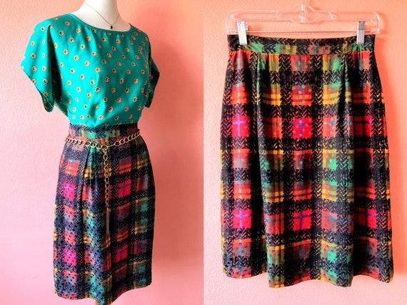 Vintage Plaid Skirt Red Plaid Skirt Silky Plaid Sk