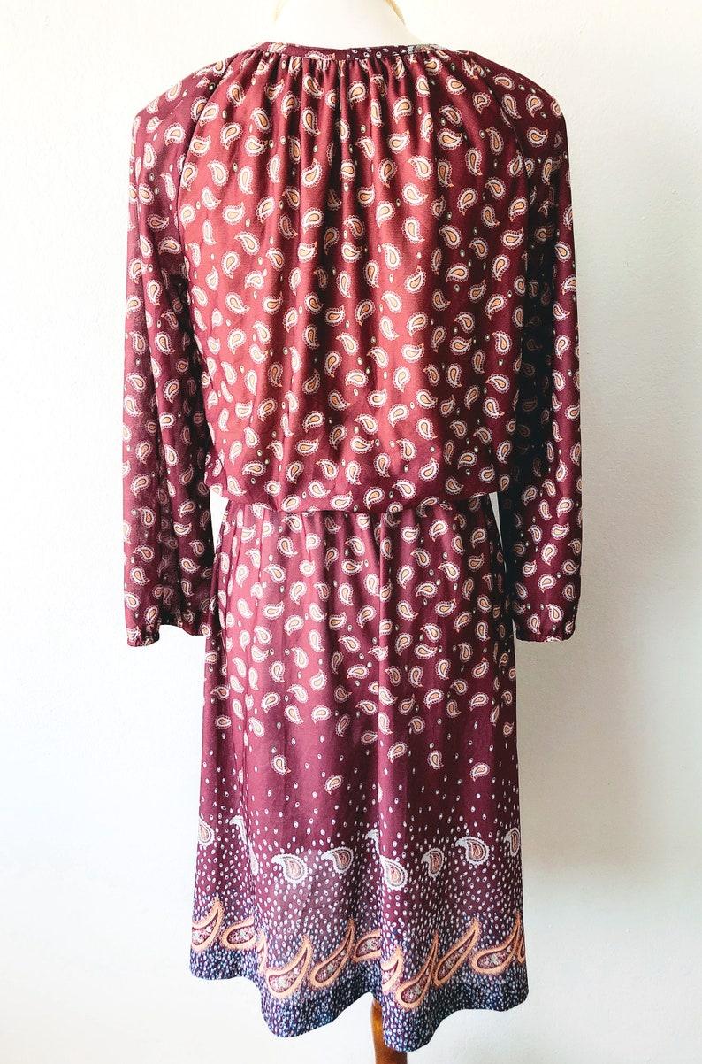 Vintage 70s Paisley Dress Elastic Waist Dress Sheer Peasant Dress Hippie Midi Dress Romantic Dress Maroon Boho Dress Gathered Bodice  S  M