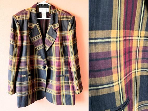 Vintage Plaid Blazer Oversized Blazer Plaid Jacket