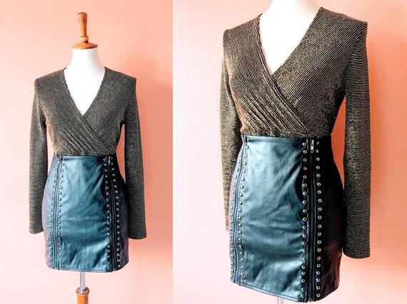 Black Vegan Leather Skirt Faux Leather Mini Black