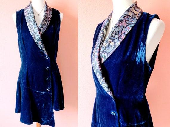 Vintage Blue Vest Velvet Vest Long Vest Brocade Ve