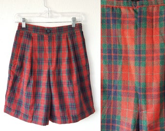 Vintage Plaid High Waist Shorts Red Tartan Plaid Mom Shorts Pleated Shorts Cuffed Hem Hipster Indie Normcore Goth Punk 26 Inch Waist Sz 8 M