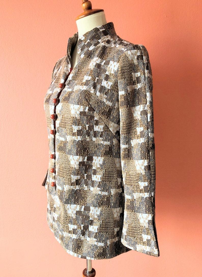 Vintage 70s Brown Blazer Geometric Jacket Abstract Blazer Mod Blazer Mod Jacket Abstract Jacket Indie Blazer Hippie Blazer Polyester Top S M