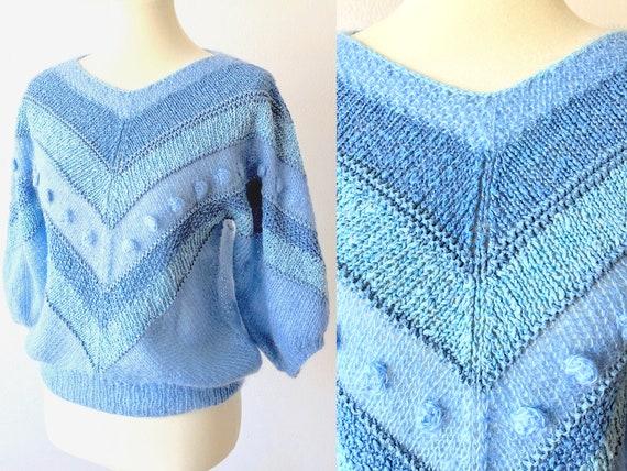 Vintage 80s Light Blue Knit Pullover Sweater