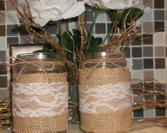 Burlap pint size jars set of 2