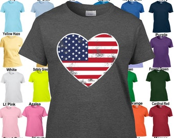 Heart Shaped Flag - Patriotic - 4th of July - America - Classic Fit Ladies' T-Shirt