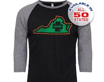 Virginia Home State Irish Shamrock - Unisex Tri-Blend 3/4 Sleeve Raglan Baseball T-Shirt - Sizes S-3XL