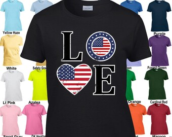 LOVE Shirt - Heart Shaped Flag - Patriotic - 4th of July - America - Classic Fit Ladies' T-Shirt XS-3XL in 21 colors!
