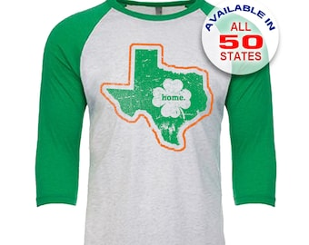 Texas Home State Irish Shamrock - Unisex Tri-Blend 3/4 Sleeve Raglan Baseball T-Shirt - Sizes XS-3XL in 13 Colors!