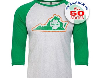 Virginia Home State Irish Shamrock - Unisex Tri-Blend 3/4 Sleeve Raglan Baseball T-Shirt - Sizes XS-3XL in 13 Colors!