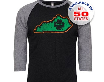 Kentucky Home State Irish Shamrock - Unisex Tri-Blend 3/4 Sleeve Raglan Baseball T-Shirt - Sizes S-3XL