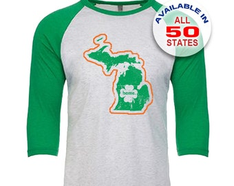 Michigan Home State Irish Shamrock - Unisex Tri-Blend 3/4 Sleeve Raglan Baseball T-Shirt - Sizes XS-3XL in 13 Colors!
