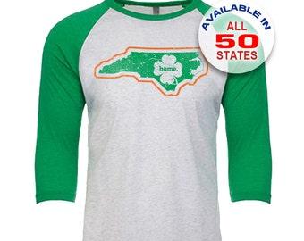 North Carolina Home State Irish Shamrock - Unisex Tri-Blend 3/4 Sleeve Raglan Baseball T-Shirt - Sizes XS-3XL in 13 Colors!