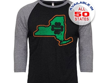 New York Home State Irish Shamrock - Unisex Tri-Blend 3/4 Sleeve Raglan Baseball T-Shirt - Sizes S-3XL