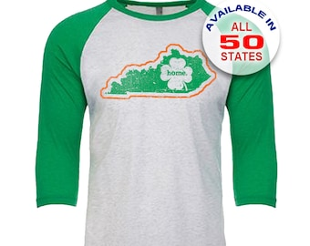 Kentucky Home State Irish Shamrock - Unisex Tri-Blend 3/4 Sleeve Raglan Baseball T-Shirt - Sizes XS-3XL in 13 Colors!