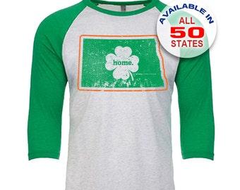 North Dakota Home State Irish Shamrock - Unisex Tri-Blend 3/4 Sleeve Raglan Baseball T-Shirt - Sizes XS-3XL in 13 Colors!