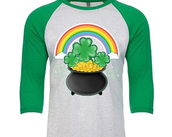 St. Patrick's Day - Pot of Gold rainbow shamrock - Unisex Tri-Blend 3/4 Sleeve Raglan Baseball T-Shirt - Sizes XS-3XL in 14 Colors!