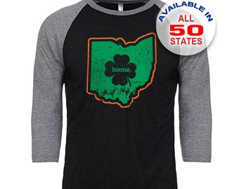 Ohio Home State Irish Shamrock - Unisex Tri-Blend 3/4 Sleeve Raglan Baseball T-Shirt - Sizes S-3XL