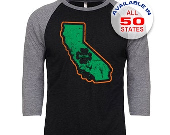 California Home State Irish Shamrock - Unisex Tri-Blend 3/4 Sleeve Raglan Baseball T-Shirt - Sizes S-3XL