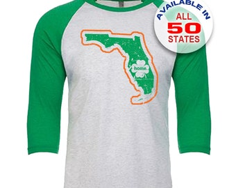 Florida Home State Irish Shamrock - Unisex Tri-Blend 3/4 Sleeve Raglan Baseball T-Shirt - Sizes XS-3XL in 13 Colors!