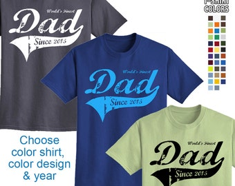 World's Finest Dad - Personalized with Year - Mens T-Shirt Great gift for Father's Day or a New Dad! We carry sizes S - 5XL in 30 Colors!