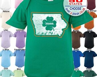 Iowa Home State Irish Shamrock Bodysuit - Boys / Girls / Irish / St. Patty's Day