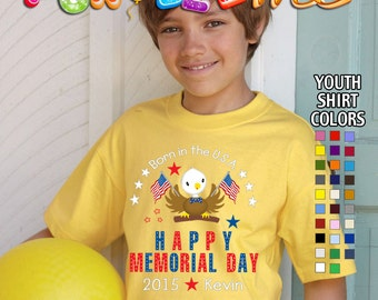 Happy Memorial Day - Born in the USA - T-Shirt - Boys - Youth - Personalized with Name and Year