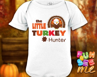 The Little Turkey - Thanksgiving - Personalized with Name Bodysuit / Onesie / Boys / Girls / New Baby / Shower Gift