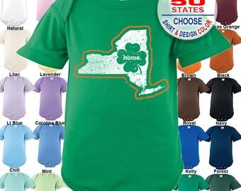 New York Home State Irish Shamrock Bodysuit / Boys / Girls / Irish / St. Patty's Day