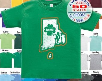 Rhode Island Home State Irish Shamrock T-Shirt - Boys / Girls / Infant / Toddler / Youth sizes