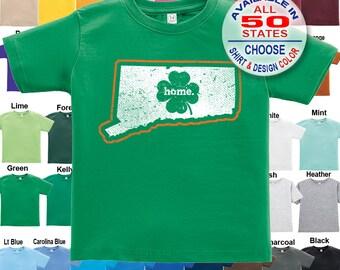 Connecticut Home State Irish Shamrock T-Shirt - Boys / Girls / Infant / Toddler / Youth sizes