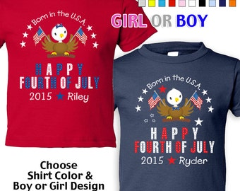 Happy Fourth of July - Born in the USA - T-Shirt - Girls - Boys - infant - Personalized w/ Name & Year