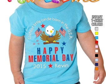 Happy Memorial Day - Cutest Little Birdie Born in the USA - T-Shirt - Boys - infant - Personalized with Name & Year